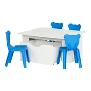South Shore Crea 39.4'' Rectangular Laminated Kids' White Activity Table and 4 Blue Plastic Chairs Set, (100177)