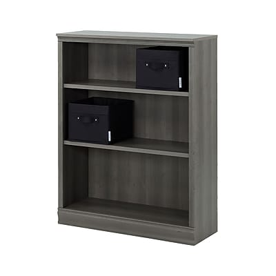 South Shore Morgan 3-Shelf Bookcase 44.17'' with 2 Canvas Storage Baskets, Gray Maple, (100112)