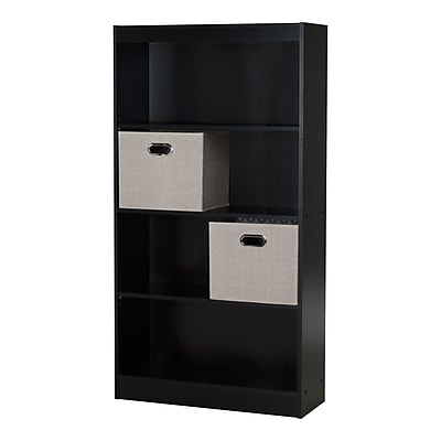 South Shore Axess 4-Shelf Bookcase 58'' with 2 Fabric Storage Baskets,Pure Black,(8050145K)