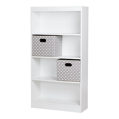South Shore Axess 4-Shelf Bookcase 58'' with 2 Fabric Storage Baskets,Pure White,(8050142K)