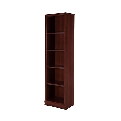 South Shore Morgan 5-Shelf Narrow Bookcase 71.42'', Royal Cherry, (10147)
