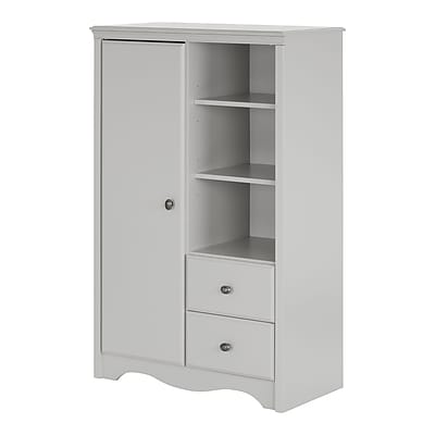 South Shore Angel Armoire with Drawers, Soft Gray (10230)