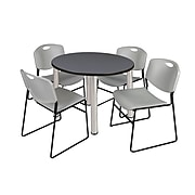 """Regency Kee 36"""" Round Breakroom Table- Grey/ Chrome & 4 Zeng Stack Chairs- Grey (TB36RDGYPCM44GY)"""