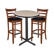 "Regency 30"" Round Cafe Table- Beige & 2 Zoe Cafe Stools- Cherry/Black (TCB30RDBE95)"