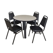 "Regency Kee 36"" Round Breakroom Table- Maple/ Black & 4 Restaurant Stack Chairs- Black (TB36RDPLPBK29BK)"