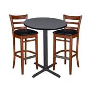 "Regency 30"" Round Cafe Table- Grey & 2 Zoe Cafe Stools- Cherry/Black (TCB30RDGY95)"