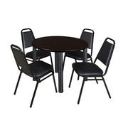 "Regency Kee 36"" Round Breakroom Table- Mocha Walnut/ Black & 4 Restaurant Stack Chairs- Black (TB36RDMWPBK29BK)"