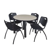 "Regency Kee 36"" Round Breakroom Table- Maple/ Black & 4 'M' Stack Chairs- Black (TB36RDPLPBK47BK)"