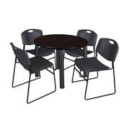 """Regency Kee 36"""" Round Breakroom Table- Mocha Walnut/ Black & 4 Zeng Stack Chairs- Black (TB36RDMWPBK44BK)"""