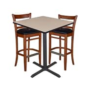 "Regency 36"" Square Cafe Table- Beige & 2 Zoe Cafe Stools- Cherry/Black (TCB3636BE95)"