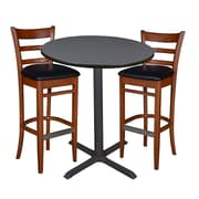 "Regency 36"" Round Cafe Table- Grey & 2 Zoe Cafe Stools- Cherry/Black (TCB36RDGY95)"