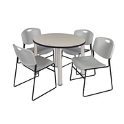 "Regency Kee 36"" Round Breakroom Table- Maple/ Chrome & 4 Zeng Stack Chairs- Grey (TB36RDPLPCM44GY)"