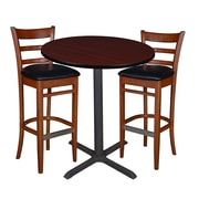 "Regency 36"" Round Cafe Table- Mahogany & 2 Zoe Cafe Stools- Cherry/Black (TCB36RDMH95)"