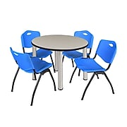"""Regency Kee 36"""" Round Breakroom Table- Maple/ Chrome & 4 'M' Stack Chairs- Blue (TB36RDPLPCM47BE)"""