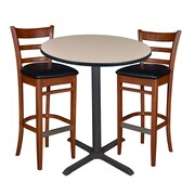 "Regency 36"" Round Cafe Table- Beige & 2 Zoe Cafe Stools- Cherry/Black (TCB36RDBE95)"