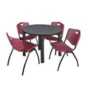 "Regency Kee 36"" Round Breakroom Table- Grey/ Black & 4 'M' Stack Chairs- Burgundy (TB36RDGYPBK47BY)"