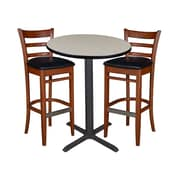 "Regency 30"" Round Cafe Table- Maple & 2 Zoe Cafe Stools- Cherry/Black (TCB30RDPL95)"