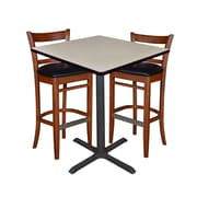 "Regency 36"" Square Cafe Table- Maple & 2 Zoe Cafe Stools- Cherry/Black (TCB3636PL95)"