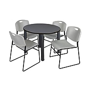 """Regency Kee 36"""" Round Breakroom Table- Grey/ Black & 4 Zeng Stack Chairs- Grey (TB36RDGYPBK44GY)"""