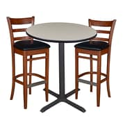 "Regency 36"" Round Cafe Table- Maple & 2 Zoe Cafe Stools- Cherry/Black (TCB36RDPL95)"