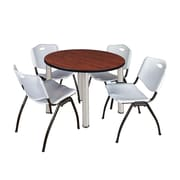 """Regency Kee 36"""" Round Breakroom Table- Cherry/ Chrome & 4 'M' Stack Chairs- Grey (TB36RDCHPCM47GY)"""