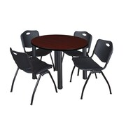 "Regency Kee 36"" Round Breakroom Table- Mahogany/ Black & 4 'M' Stack Chairs- Black (TB36RDMHPBK47BK)"
