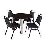 "Regency Kee 36"" Round Breakroom Table- Mocha Walnut/ Chrome & 4 Restaurant Stack Chairs- Black (TB36RDMWPCM29BK)"