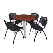 """Regency Kee 36"""" Round Breakroom Table- Cherry/ Chrome & 4 'M' Stack Chairs- Black (TB36RDCHPCM47BK)"""