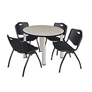 "Regency Kee 36"" Round Breakroom Table- Maple/ Chrome & 4 'M' Stack Chairs- Black (TB36RDPLPCM47BK)"