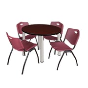 "Regency Kee 36"" Round Breakroom Table- Mahogany/ Chrome & 4 'M' Stack Chairs- Burgundy (TB36RDMHPCM47BY)"