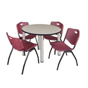 "Regency Kee 36"" Round Breakroom Table- Maple/ Chrome & 4 'M' Stack Chairs- Burgundy (TB36RDPLPCM47BY)"