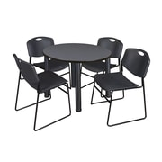 "Regency Kee 36"" Round Breakroom Table- Grey/ Black & 4 Zeng Stack Chairs- Black (TB36RDGYPBK44BK)"