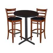 """Regency 30"""" Round Cafe Table- Mocha Walnut & 2 Zoe Cafe Stools- Cherry/Black (TCB30RDMW95)"""