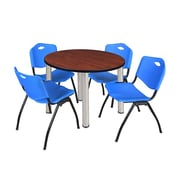 "Regency Kee 36"" Round Breakroom Table- Cherry/ Chrome & 4 'M' Stack Chairs- Blue (TB36RDCHPCM47BE)"