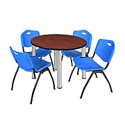 """Regency Kee 36"""" Round Breakroom Table- Cherry/ Chrome & 4 'M' Stack Chairs- Blue (TB36RDCHPCM47BE)"""