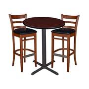 """Regency 30"""" Round Cafe Table- Mahogany & 2 Zoe Cafe Stools- Cherry/Black (TCB30RDMH95)"""