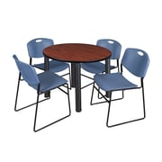 """Regency Kee 36"""" Round Breakroom Table- Cherry/ Black & 4 Zeng Stack Chairs- Blue (TB36RDCHPBK44BE)"""