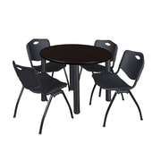 "Regency Kee 36"" Round Breakroom Table- Mocha Walnut/ Black & 4 'M' Stack Chairs- Black (TB36RDMWPBK47BK)"