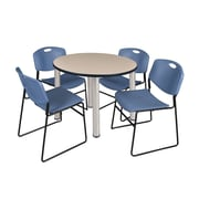 "Regency Kee 36"" Round Breakroom Table- Beige/ Chrome & 4 Zeng Stack Chairs- Blue (TB36RDBEPCM44BE)"