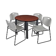 """Regency Kee 36"""" Round Breakroom Table- Cherry/ Black & 4 Zeng Stack Chairs- Grey (TB36RDCHPBK44GY)"""