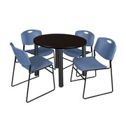 """Regency Kee 36"""" Round Breakroom Table- Mocha Walnut/ Black & 4 Zeng Stack Chairs- Blue (TB36RDMWPBK44BE)"""