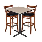 "Regency 30"" Square Cafe Table- Beige & 2 Zoe Cafe Stools- Cherry/Black (TCB3030BE95)"
