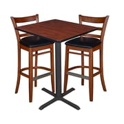 "Regency 30"" Square Cafe Table- Cherry & 2 Zoe Cafe Stools- Cherry/Black (TCB3030CH95)"