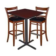 """Regency 30"""" Square Cafe Table- Mahogany & 2 Zoe Cafe Stools- Cherry/Black (TCB3030MH95)"""