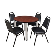 "Regency Kee 36"" Round Breakroom Table- Cherry/ Chrome & 4 Restaurant Stack Chairs- Black (TB36RDCHPCM29BK)"