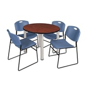 """Regency Kee 36"""" Round Breakroom Table- Cherry/ Chrome & 4 Zeng Stack Chairs- Blue (TB36RDCHPCM44BE)"""
