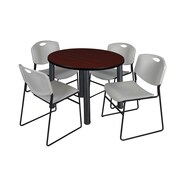 "Regency Kee 36"" Round Breakroom Table- Mahogany/ Black & 4 Zeng Stack Chairs- Grey (TB36RDMHPBK44GY)"