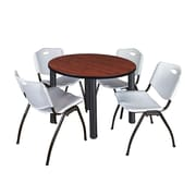 """Regency Kee 36"""" Round Breakroom Table- Cherry/ Black & 4 'M' Stack Chairs- Grey (TB36RDCHPBK47GY)"""