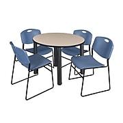 """Regency Kee 36"""" Round Breakroom Table- Beige/ Black & 4 Zeng Stack Chairs- Blue (TB36RDBEPBK44BE)"""
