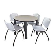 "Regency Kee 36"" Round Breakroom Table- Maple/ Black & 4 'M' Stack Chairs- Grey (TB36RDPLPBK47GY)"